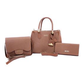 Bolsa Feminina Kit Com 3 Bolsas Lorena + Bau + Carteira