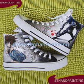Zapatos Death Note Grey Marca Collec Diseño Hecho A Mano