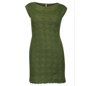 Vestido 72301 Verde Militar Tejido Punto Tallas Extra Rinna