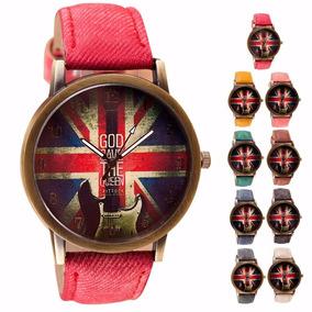 Relógio Vintage Bandeira Da Inglaterra Pulseira Tecido