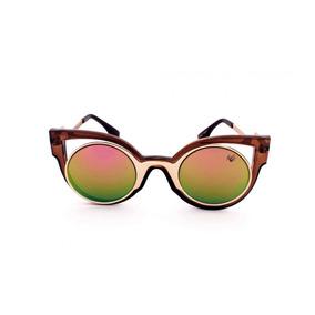 2dbc2f48d70cc Óculos De Sol Drop Me Las Gatinho Marrom Acetato Espelhado