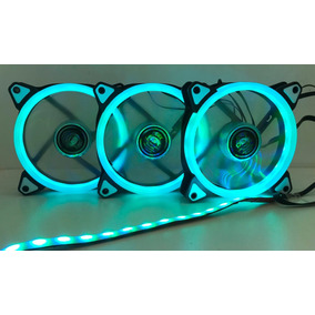 Kit Cooler Fan 120mm Rgb Conj 3 C/fita Led Controlador/contr