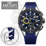 79061d8879c Relógio Masculino Megir M 2053 Cronógrafo 3 Atm Puls. Azul