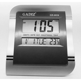 Reloj Digital De Pared Escritorio 25x22cm Gadiz Temp Gris