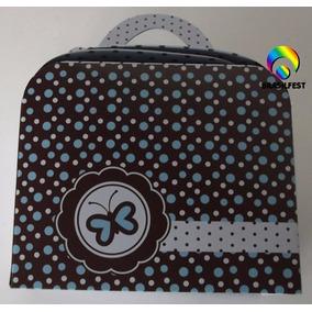 Caixa Maleta Marrom C/ Poá E Borboleta Azul (10 Caixas)