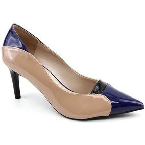 9fbda69b50 Sapato Scarpin Giovana Pash 21480 Nude Azul Loja Pixolé