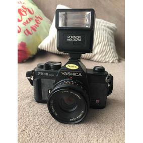 Câmera Fotografica Yashica Fx-3 Fx 3 Com Flash E Lente 50 Mm