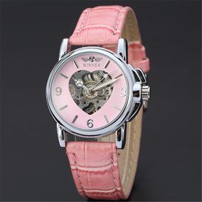 Relógio Winner Feminino Skeleton Mecânico Coração Rosa/preto