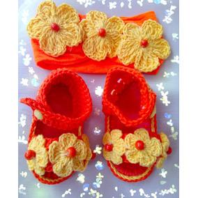 Zapatos Tejidos De Bebé Naranja Con Tiara Flor