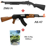 Rifles Airsoft Shotgun Cyma Zm61a + Aeg Bivolt Ak47+ Bb 0.20