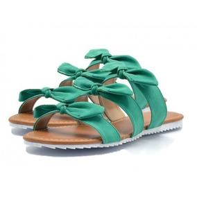 Sandália Rasteira Tiras Com Laços Verde