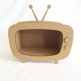 Kit 2 Televisão Retrô Nicho Decoração De Mesa Mdf Cru