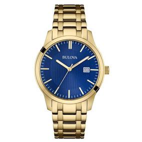 Relógio Masculino Bulova Dourado Azul Wb22444z 97b156 + Nfe