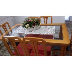 Conjunto Mesa 6 Cadeiras Mogno Com Tampo De Vidro