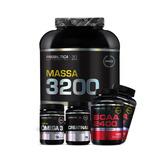 Combo Massa 3200 + 2x Bcaa + Creatina + Ômega 3 - Probiótica