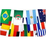 Bandeirinhas Missões Evangelho 32 Países Nações Poliéster