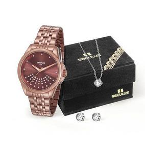 3a45f379385 Relógio Seculus Feminino 20599lpsvms3k1 + Colar E Brincos