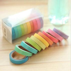 10 Washi Tape Diversas Cores Pastel