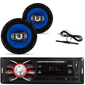 Radio Mp3 Bluetooth Fm + 1 Par De Falantes 6 + Antena