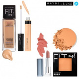 Kit Natural 4: Corrector, Base, Polvo Y Labial Maybelline