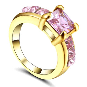 Aro 18 Anel Feminino Solitário Rosa 3 Banhos Ouro 205 B