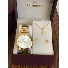 Kit Relógio Champion Feminino Cn29258c Original