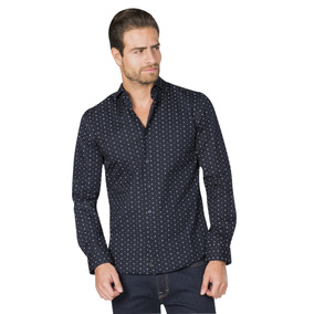 Camisas Hombre Casual Azul Marino Estampada Slim Moda B85345