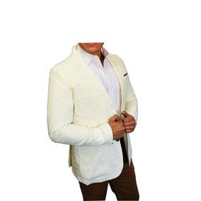 Blazer Saco Para Hombre Color Crema Estampada Peaceful
