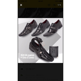 4 Sapatos Social Verniz + Cinto + Carteira Gratis