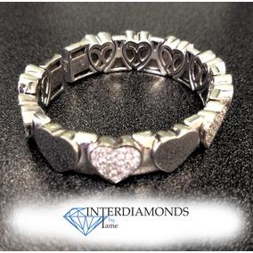 Pulsera En Oro Blanco De 18kt. Corazones Con Diamantes