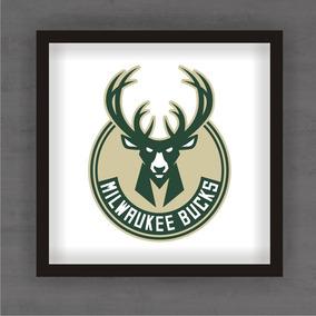 53a4e030d Quadro Decorativo Milwaukee Bucks Nba Basquete C  Moldura