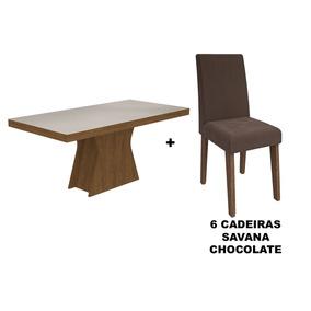 Sala De Jantar Cimol Mesa Olívia 1600x800 Com 6 Cadeiras Mil