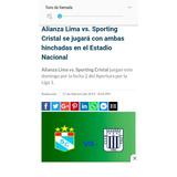 Entradas Para Cristal Y Alianza Lima Norte A 40