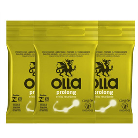 Kit Com 3 Preservativos Olla Lubrificado Prolong C/3 Un