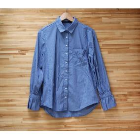 Camisa Social Manga Longa Listras Azul Branca M Pouco Uso ffd396395c6d5