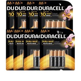 Kit Duracell Duralock Pilha Alcalina Aa C/32 Und + Aaa C/32