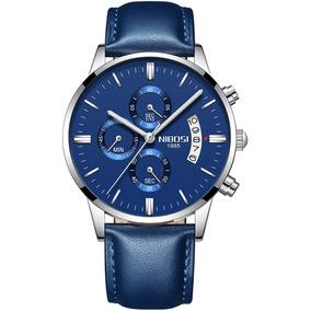 Reloj Nibosi Clasico Hombre Negro Y Azul Diales Funcionales