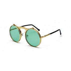 4f5f80e99a16c Óculos Retro Verde Lentes Levantam Vintage Uv400 C  Estojo