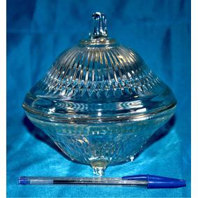 Compoteira Antiga Em Vidrão Transparente Decorativo Funciona