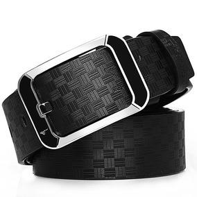 Cinturón De Cuero Casual Para Hombres, Negro