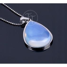 Collar Piedra Luna Natural Titanio 18k Drop
