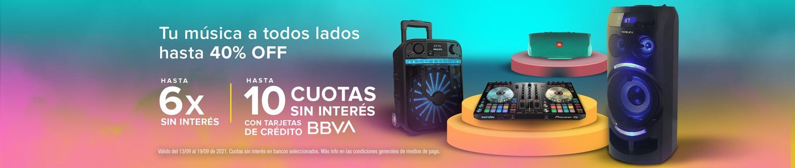 Especial Audio 25% OFF, 6 cuotas sin interés y 10 cuotas sin interés con tarjeta BBVA