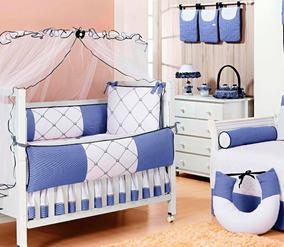 Kit Bebê Príncipe Realeza Coroa Bordado Azul Marinho 9 Peças