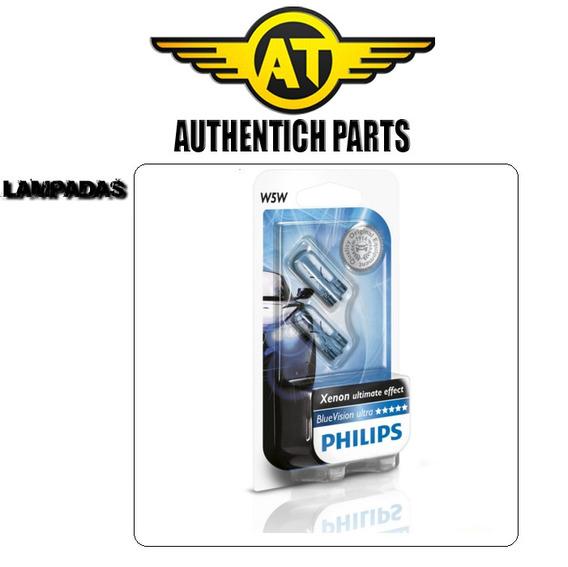 Par De Lampadas Da Lanterna Dianteira Philips Blue Vision W5w Fiat Stilo 1.8 8v Flex 05 À 10