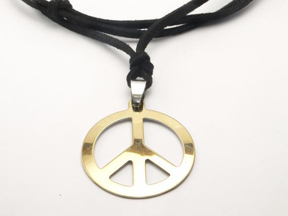 Cordão De Couro C/ Camurça E Simbolo Da Paz Em Aço Inox