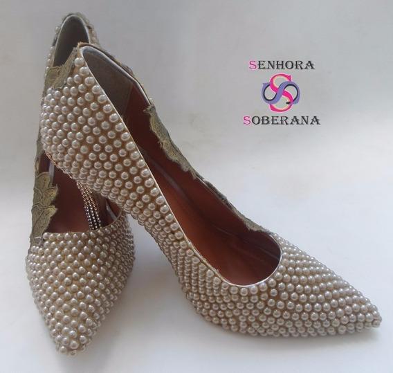 Sapato Rendado E Perolado Dourado (formaturas) (noivas)