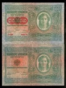 Áustria 100 Kronen 1912 P. 56 Sob Cédula - Tchequito