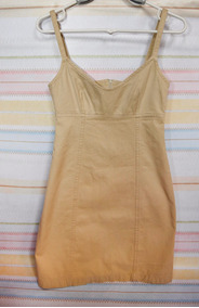 Vestido Mini De Sarja Bege - Carmim