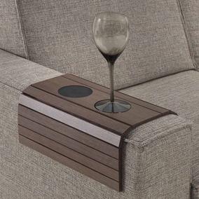 Esteira De Madeira Para Braço De Sofá Com Porta Copos - Carv