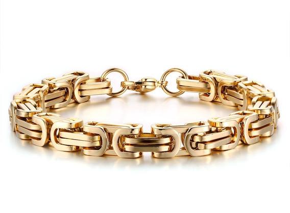 Bracelete Pulseira Quadrada Bizantino Banhada A Ouro 18k